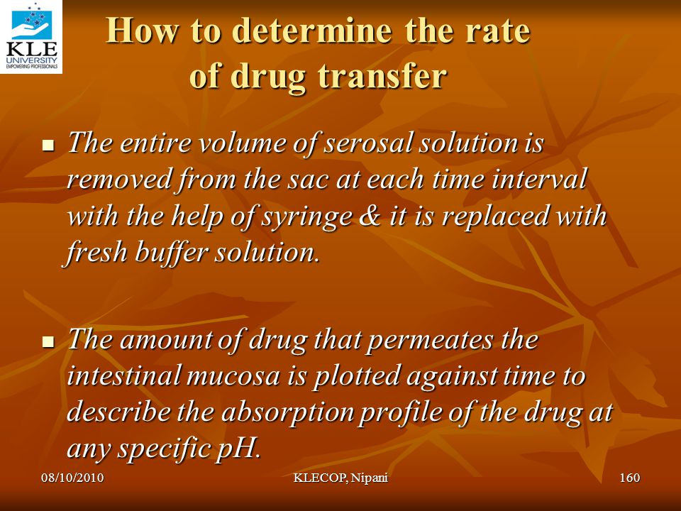 How to determine the rate of drug transfer