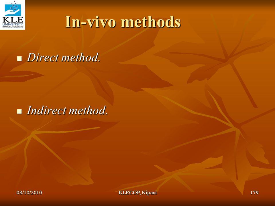 In-vivo methods Direct method. Indirect method. 08/10/2010