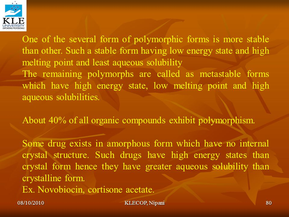 About 40% of all organic compounds exhibit polymorphism.