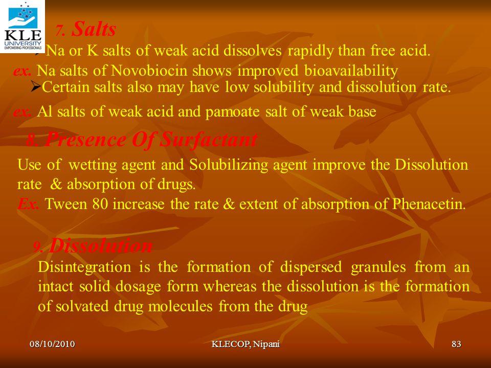 8. Presence Of Surfactant