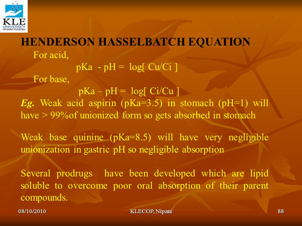 HENDERSON HASSELBATCH EQUATION