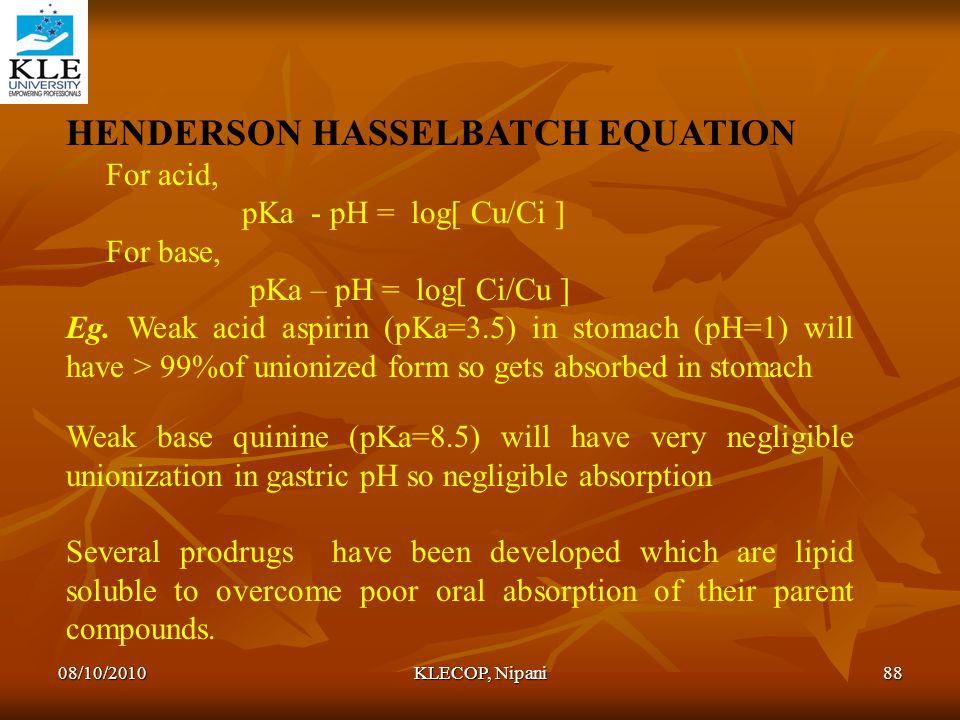 HENDERSON HASSELBATCH EQUATION