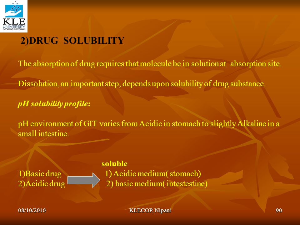 2)DRUG SOLUBILITY The absorption of drug requires that molecule be in solution at absorption site.