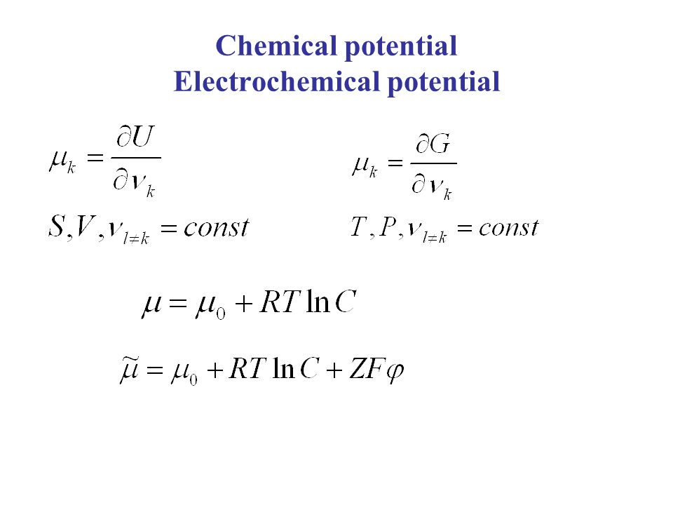 Chemical potential Electrochemical potential
