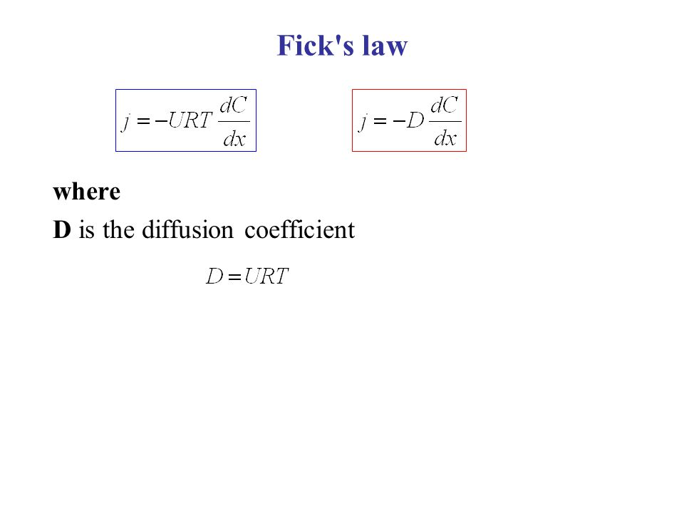 Fick s law where D is the diffusion coefficient