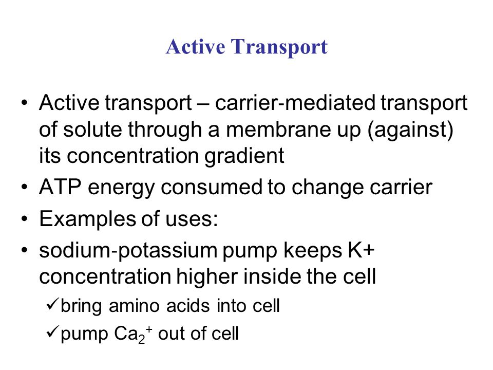 ATP energy consumed to change carrier Examples of uses: