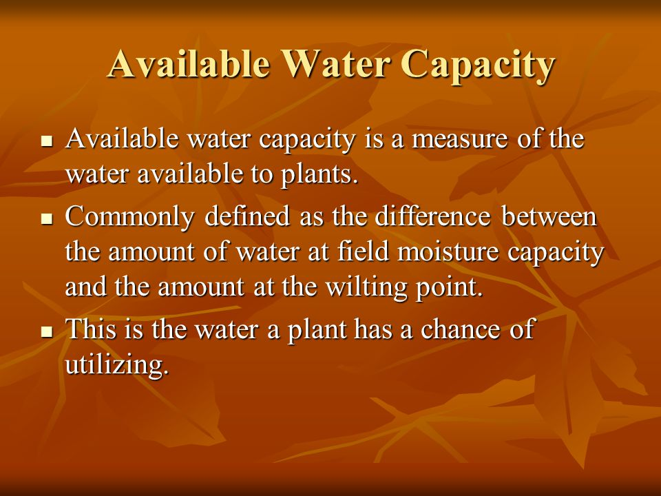 Available Water Capacity