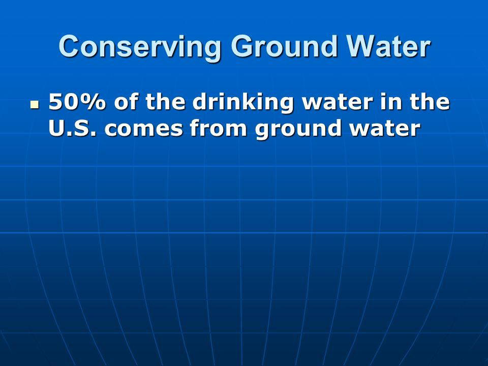 Conserving Ground Water
