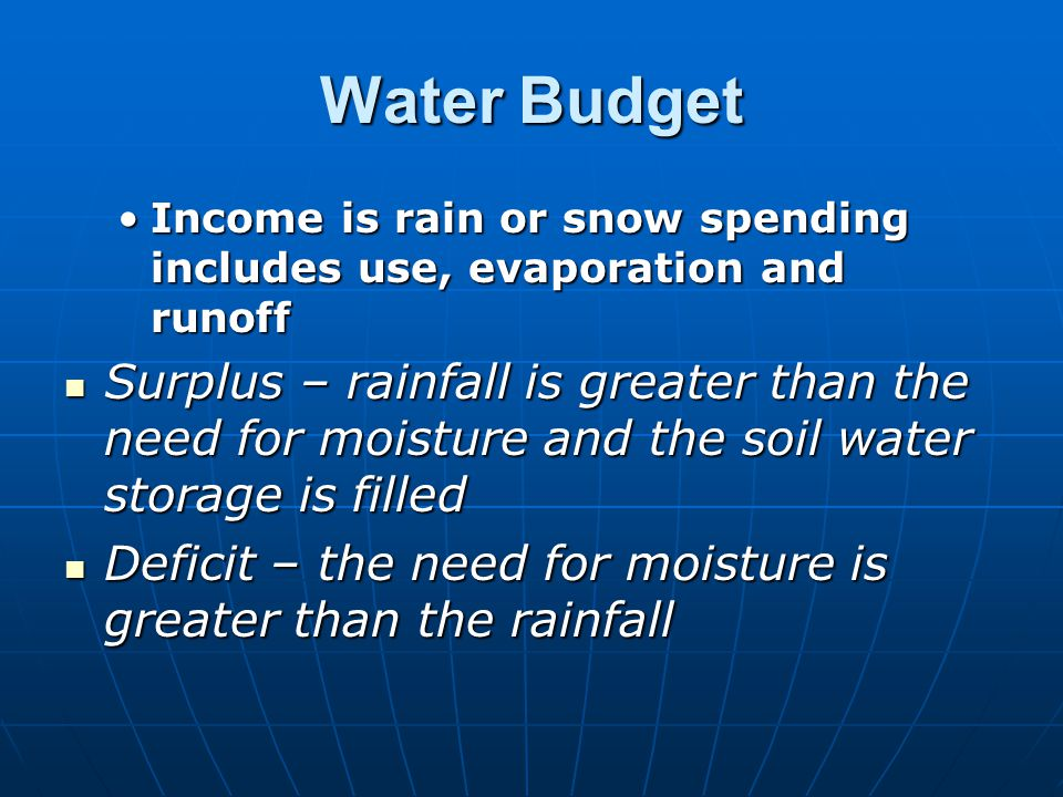 Water Budget Income is rain or snow spending includes use, evaporation and runoff.
