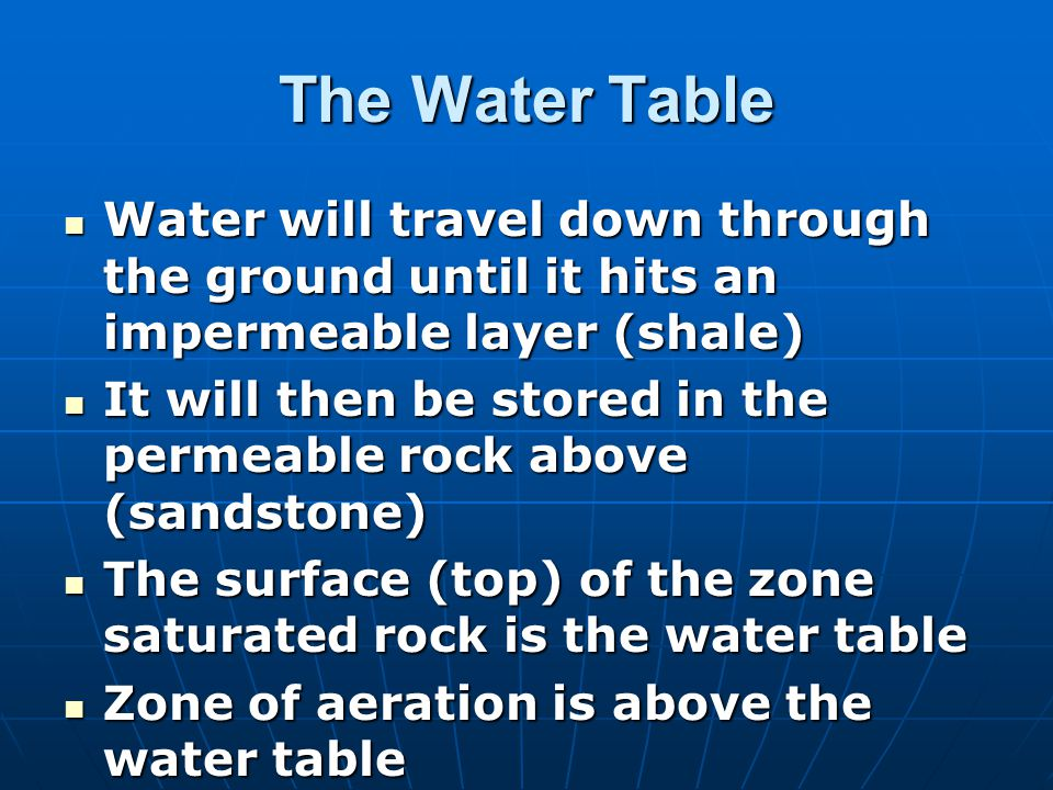 The Water Table Water will travel down through the ground until it hits an impermeable layer (shale)