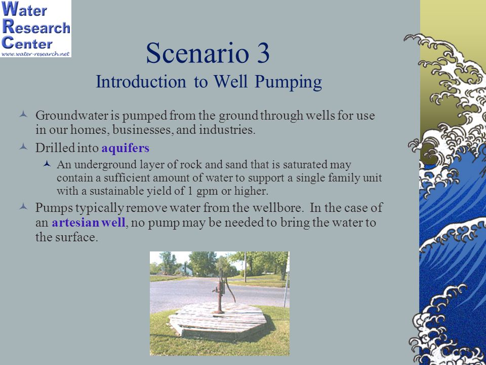 Scenario 3 Introduction to Well Pumping