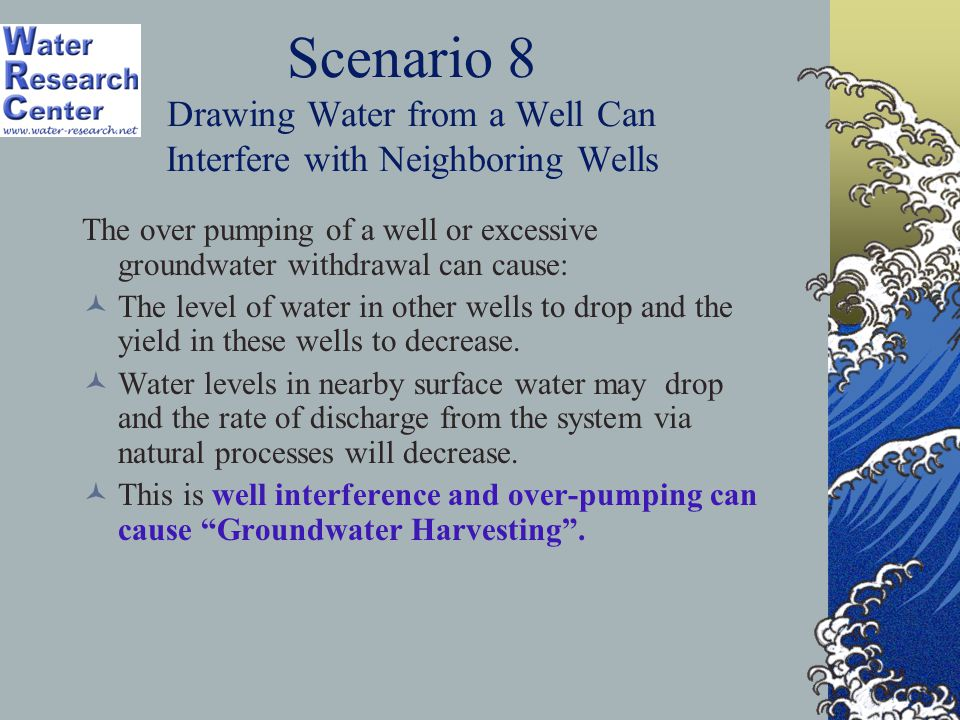 Scenario 8 Drawing Water from a Well Can Interfere with Neighboring Wells