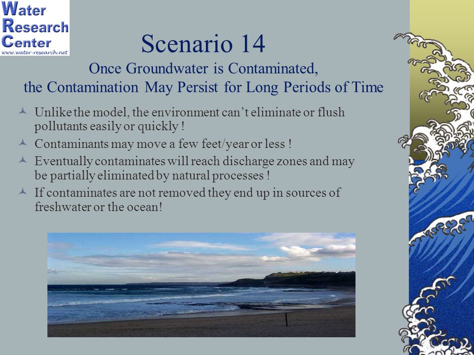 Scenario 14 Once Groundwater is Contaminated, the Contamination May Persist for Long Periods of Time