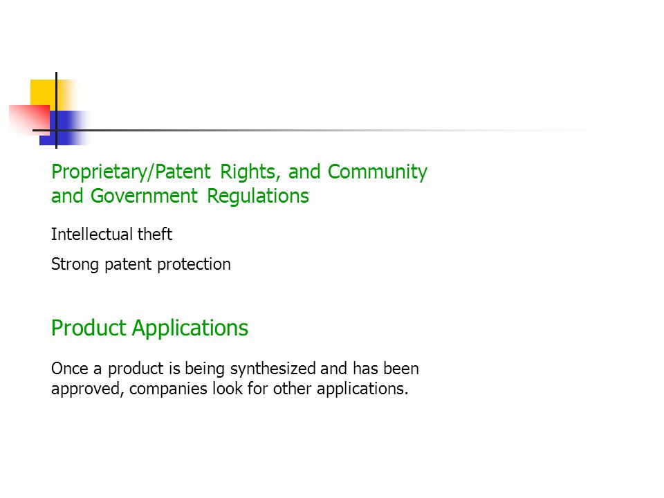 Proprietary/Patent Rights, and Community and Government Regulations