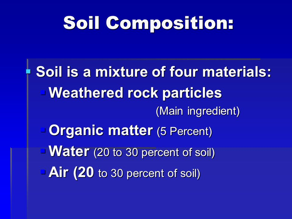 Soil Composition: Soil is a mixture of four materials:
