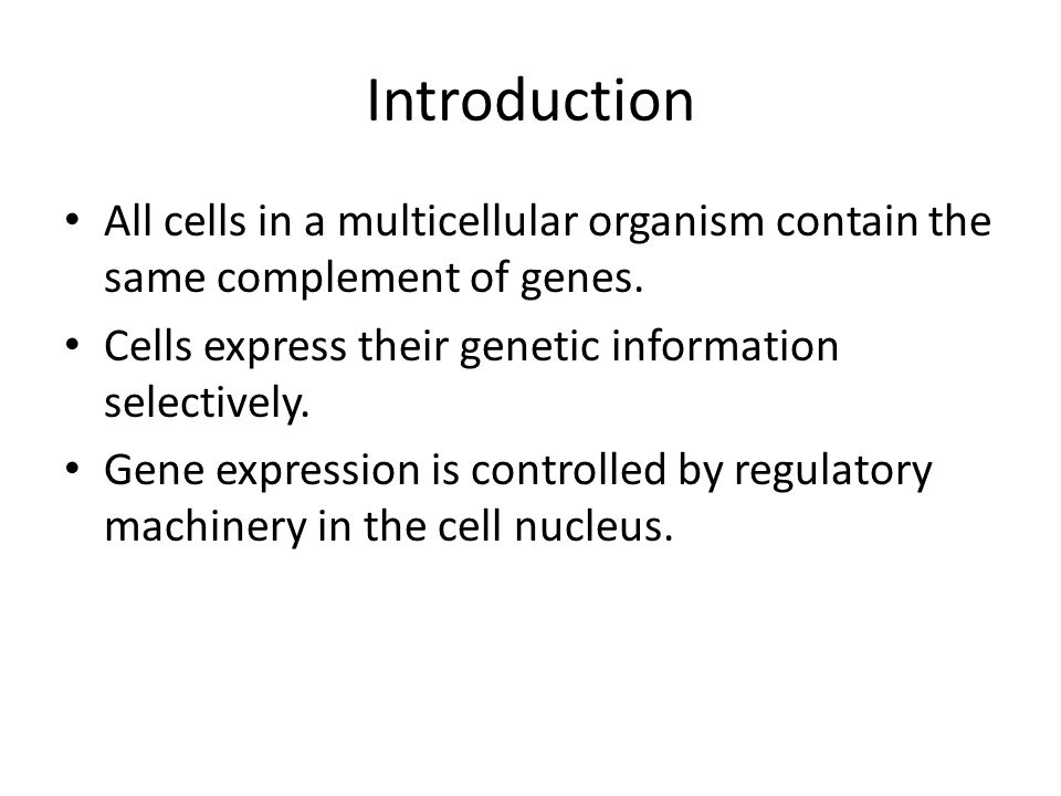 Introduction All cells in a multicellular organism contain the same complement of genes. Cells express their genetic information selectively.