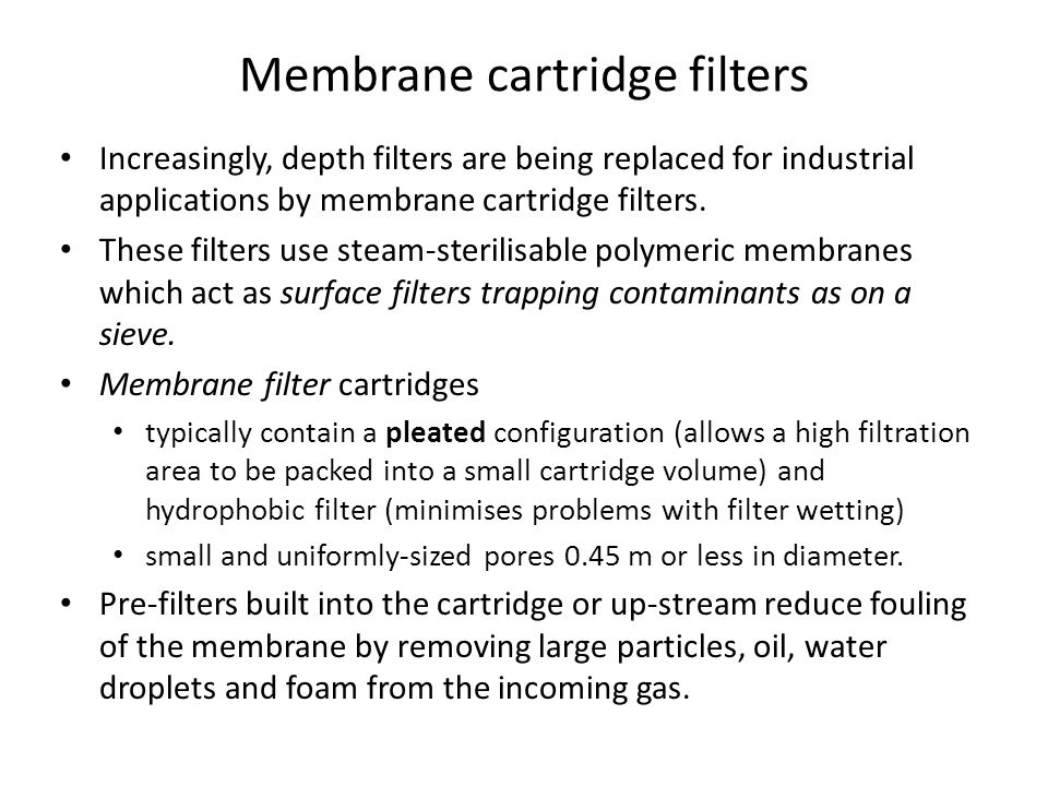 Membrane cartridge filters