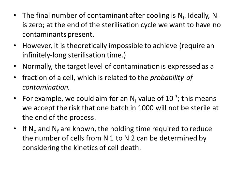 The final number of contaminant after cooling is Nf