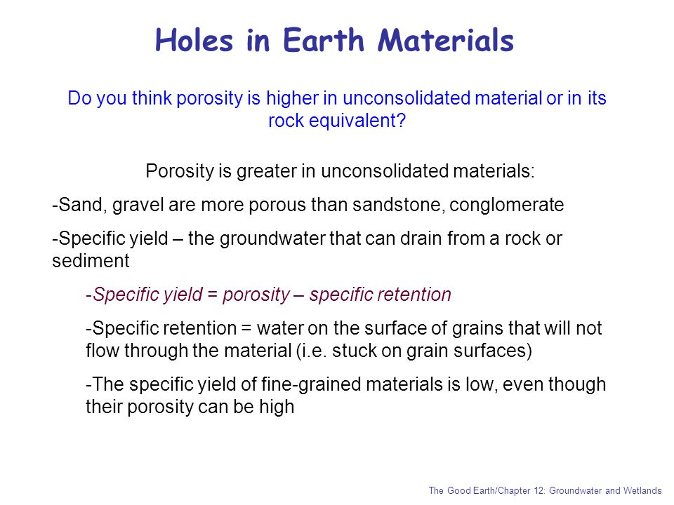 Holes in Earth Materials