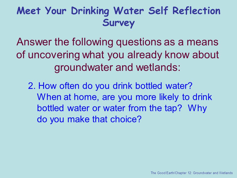 Meet Your Drinking Water Self Reflection Survey