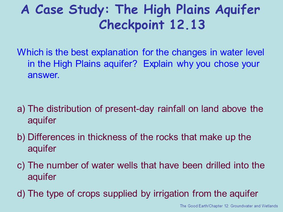 A Case Study: The High Plains Aquifer Checkpoint 12.13