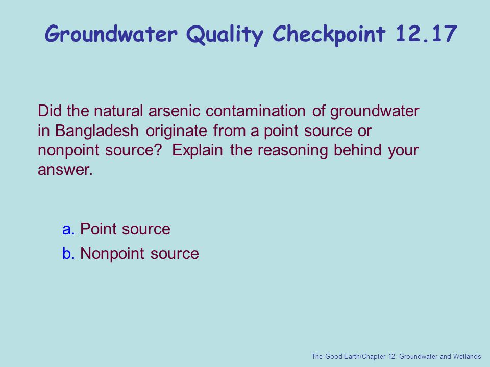 Groundwater Quality Checkpoint 12.17