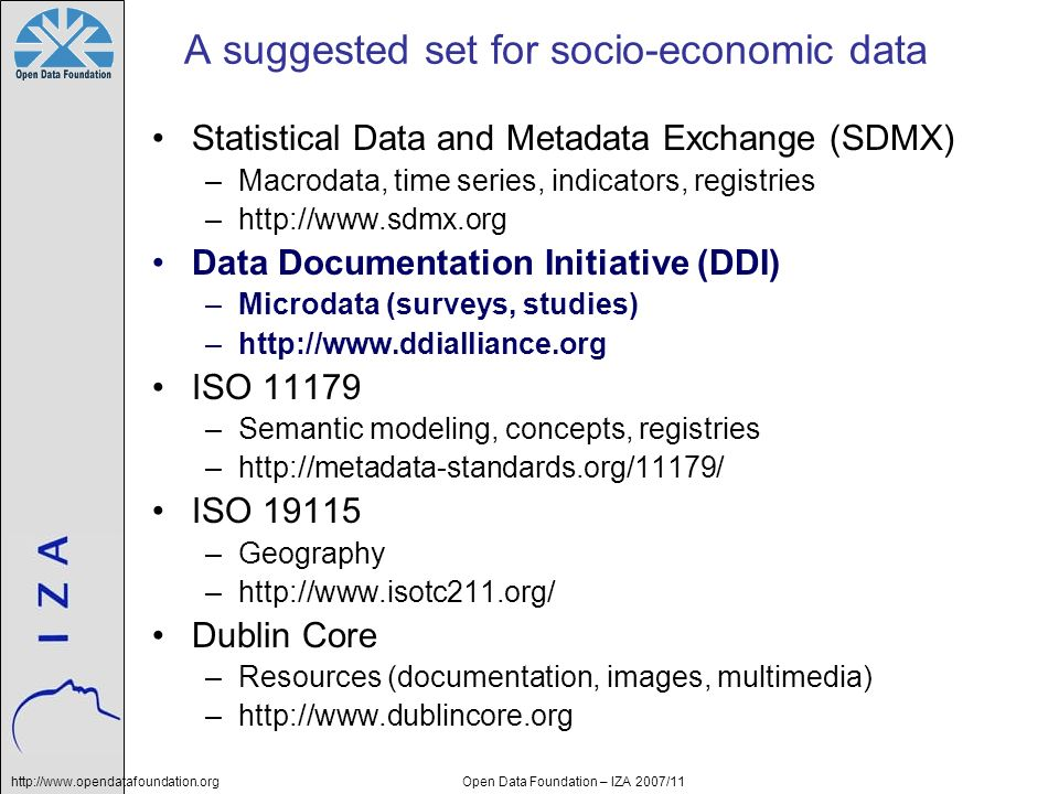A suggested set for socio-economic data