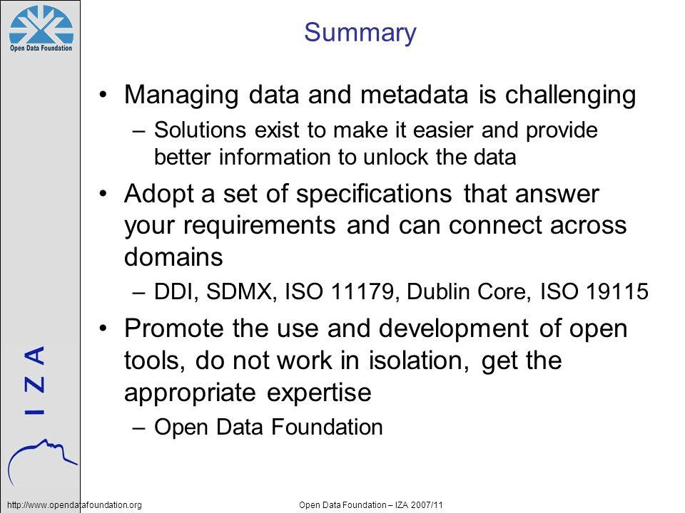 Open Data Foundation – IZA 2007/11
