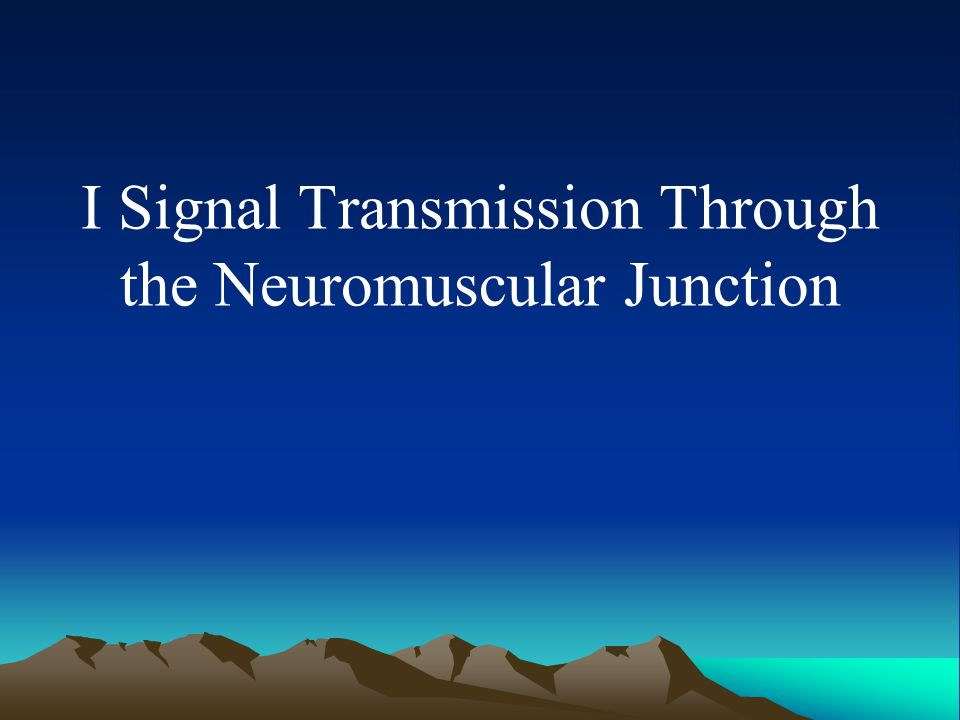 I Signal Transmission Through the Neuromuscular Junction