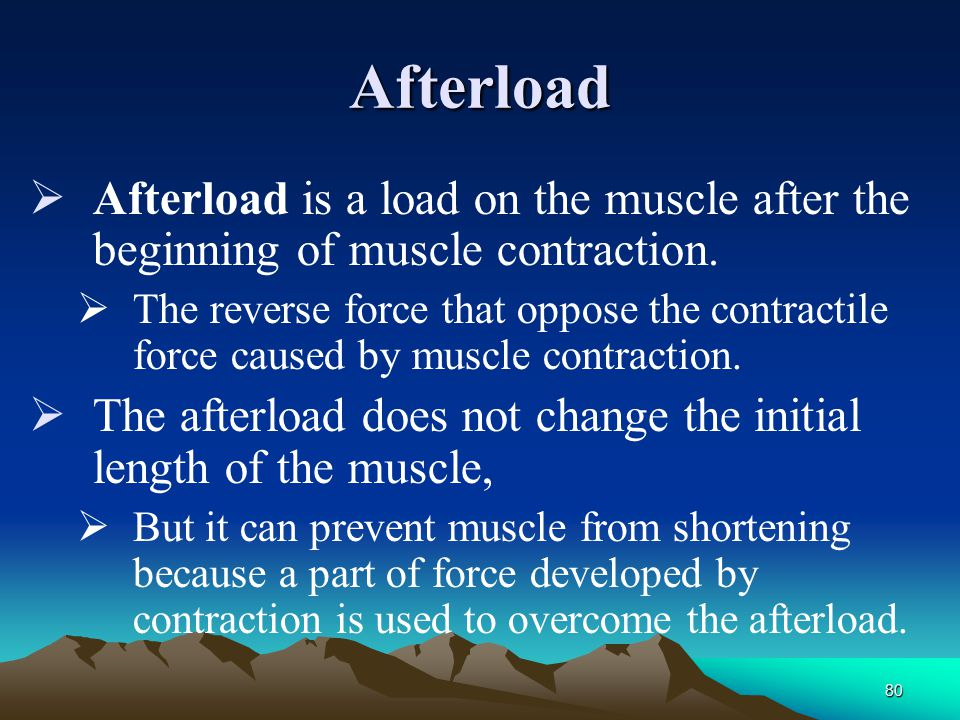 Afterload Afterload is a load on the muscle after the beginning of muscle contraction.