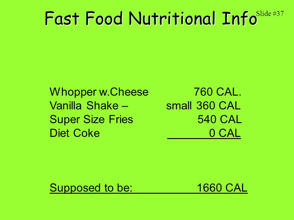 Fast Food Nutritional Info