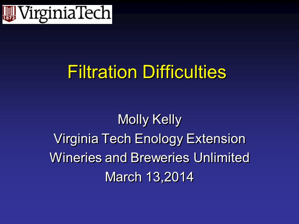 Filtration Difficulties