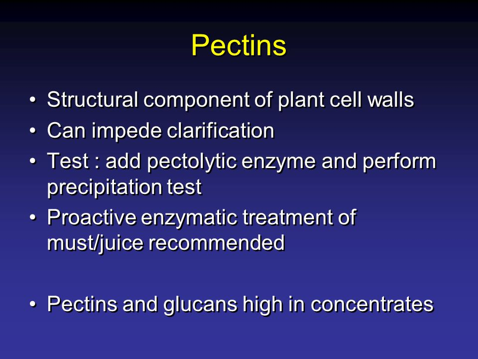 Pectins Structural component of plant cell walls