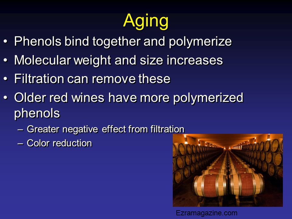 Aging Phenols bind together and polymerize