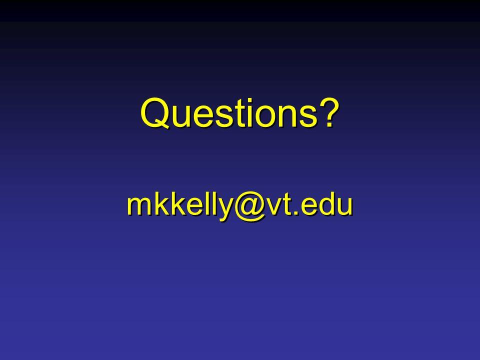 Questions mkkelly@vt.edu