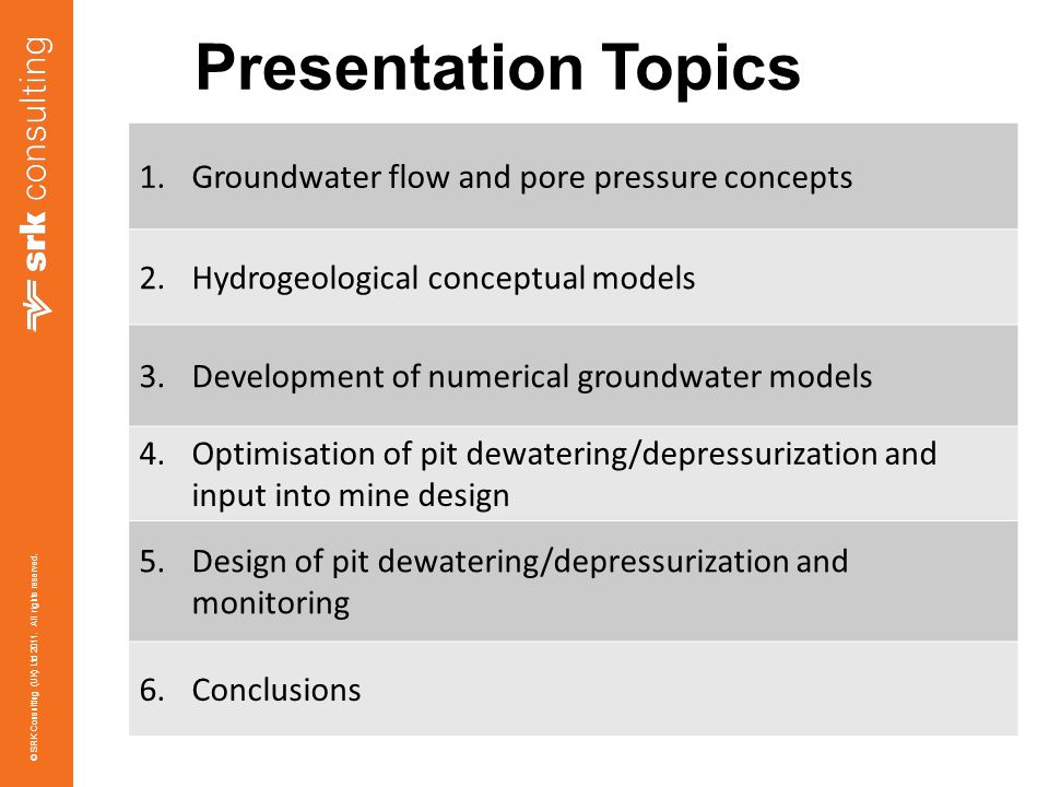 Presentation Topics Groundwater flow and pore pressure concepts