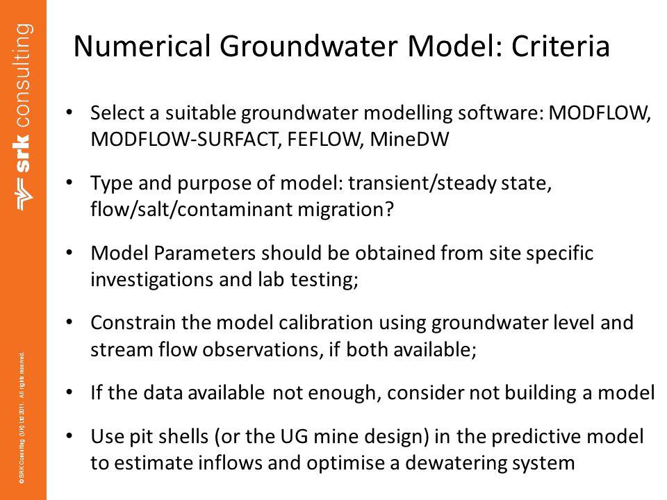 Numerical Groundwater Model: Criteria