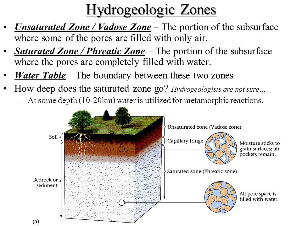 Hydrogeologic Zones Unsaturated Zone / Vadose Zone – The portion of the subsurface where some of the pores are filled with only air.