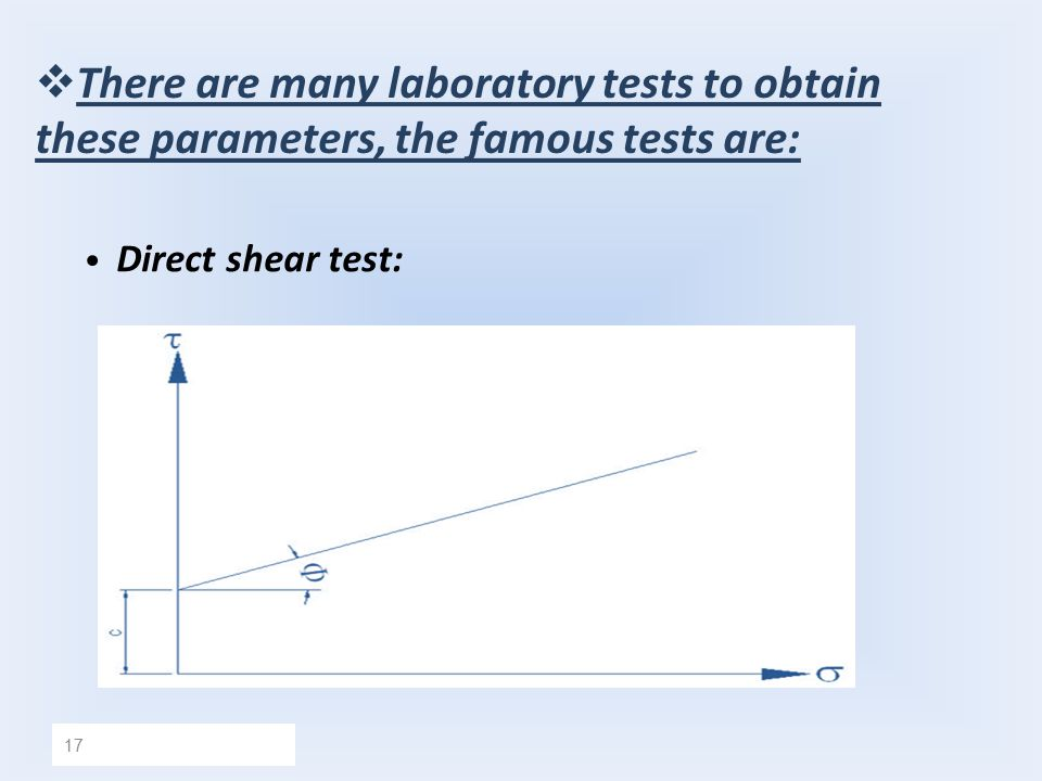 There are many laboratory tests to obtain these parameters, the famous tests are: