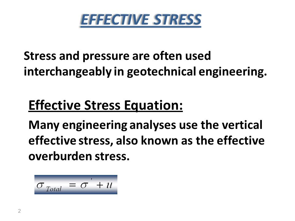 EFFECTIVE STRESS Effective Stress Equation: