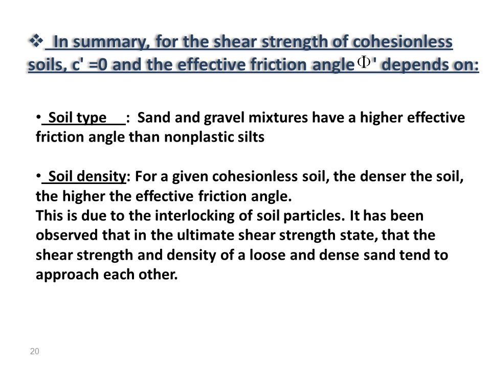 In summary, for the shear strength of cohesionless soils, c =0 and the effective friction angle depends on: