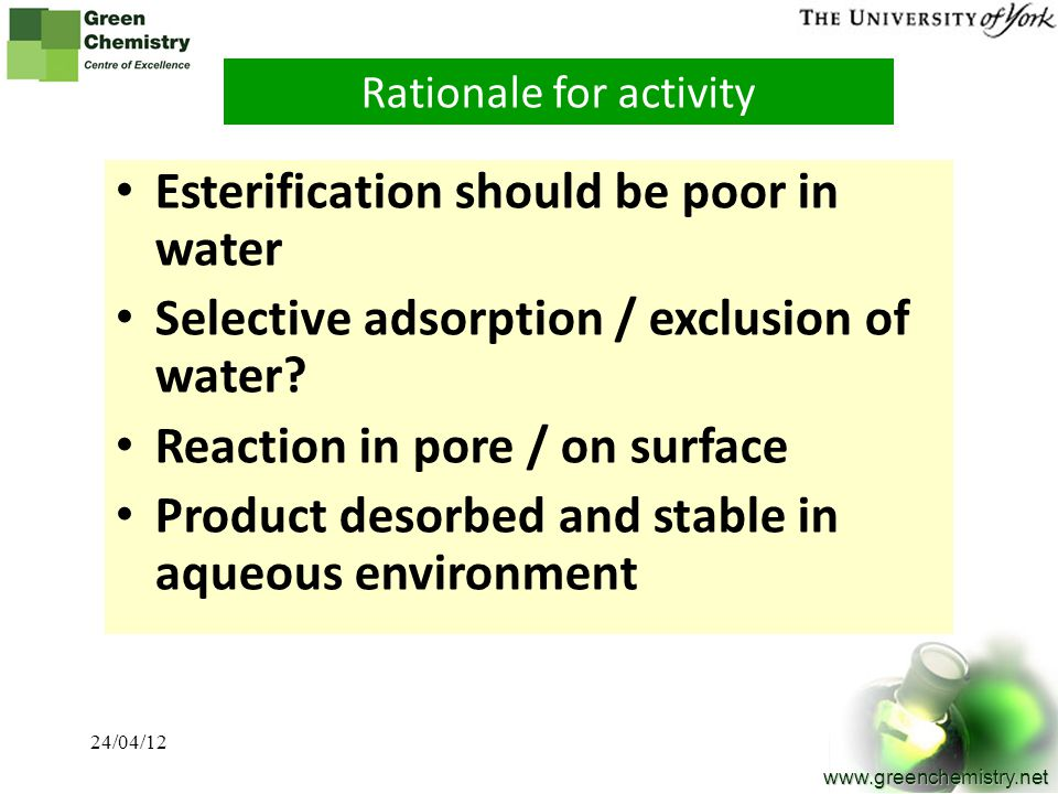 Rationale for activity
