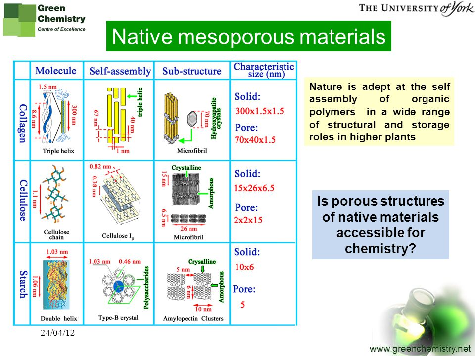 Is porous structures of native materials accessible for chemistry
