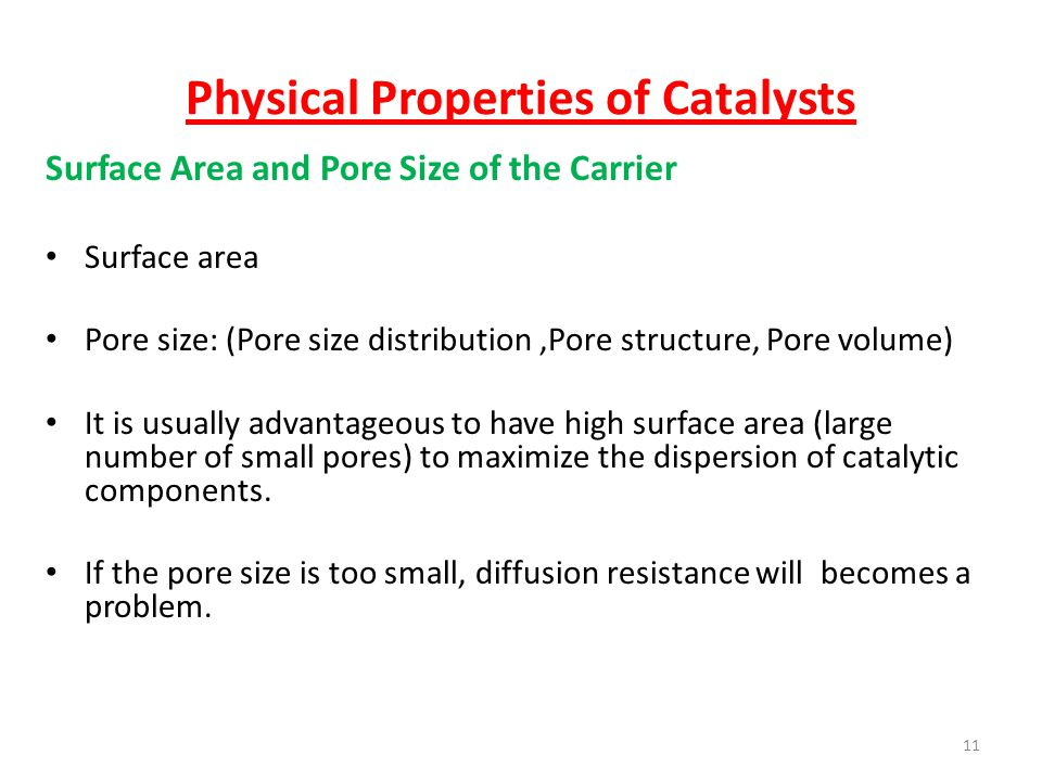 Physical Properties of Catalysts
