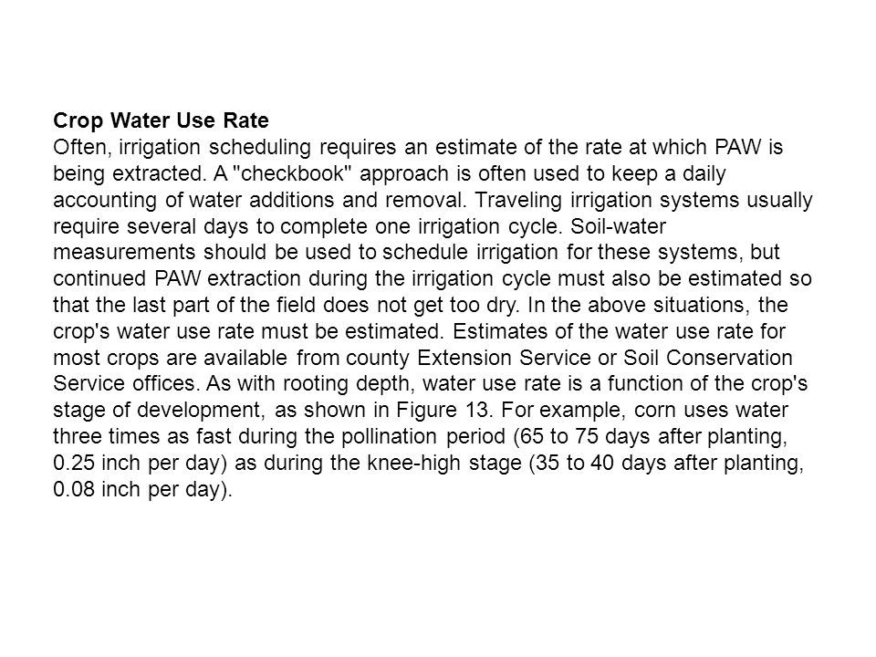 Crop Water Use Rate