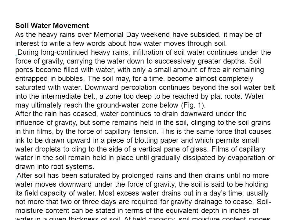 Soil Water Movement