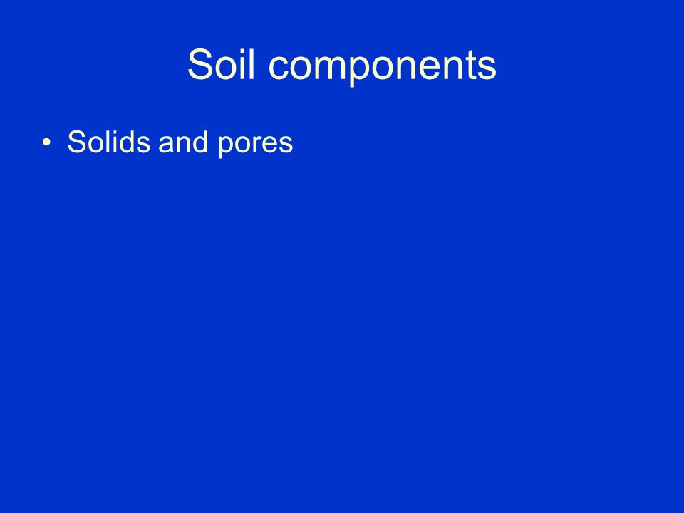 Soil components Solids and pores