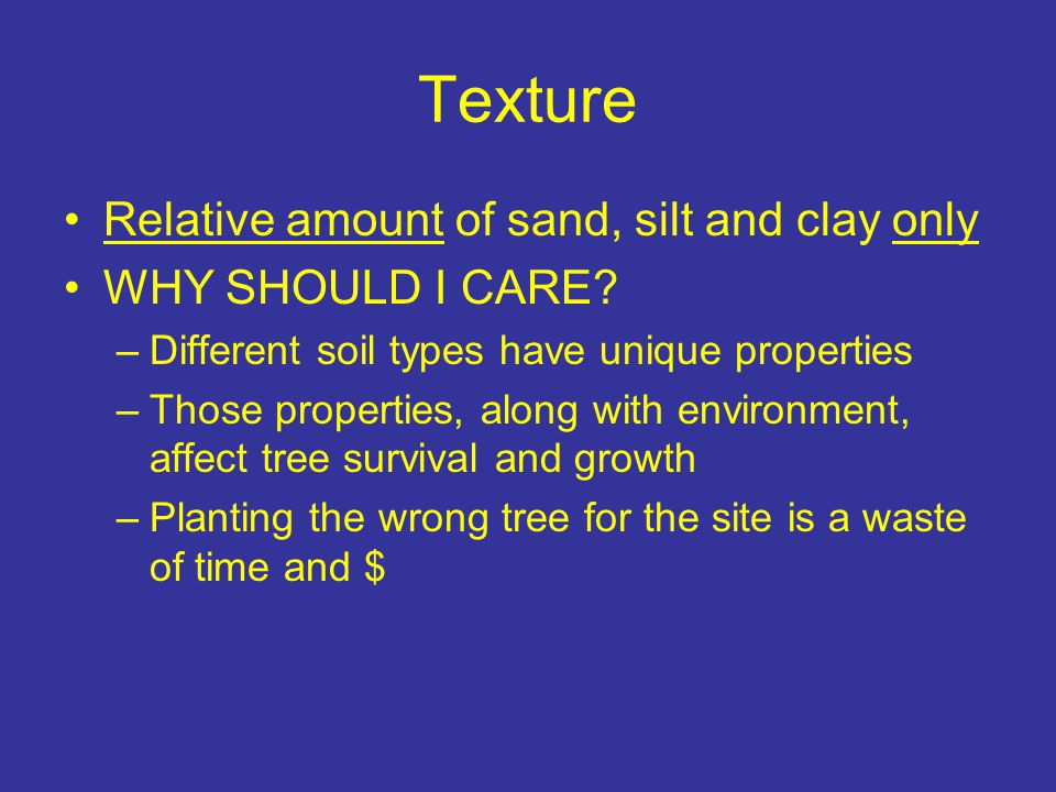 Texture Relative amount of sand, silt and clay only WHY SHOULD I CARE