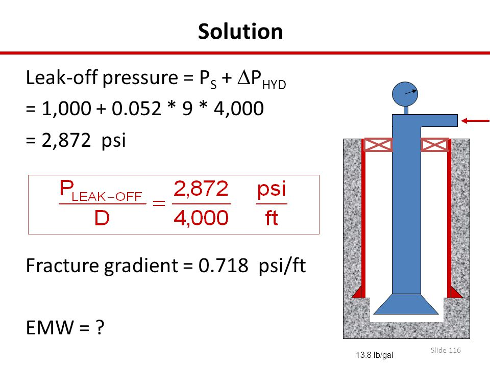 Solution Leak-off pressure = PS + DPHYD = 1,000 + 0.052 * 9 * 4,000