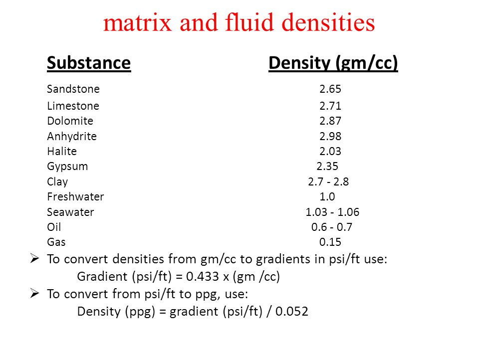 matrix and fluid densities